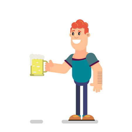 The guy is drinking beer. Vector illustration in flat style.