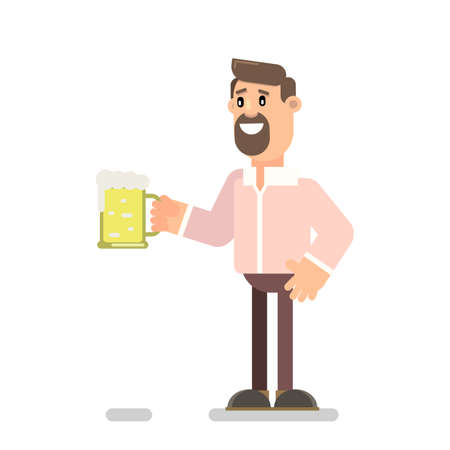 Bearded guy drinks beer. Vector illustration in flat style.