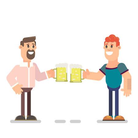 The guys drink beer together. Vector illustration in flat style. Ilustração