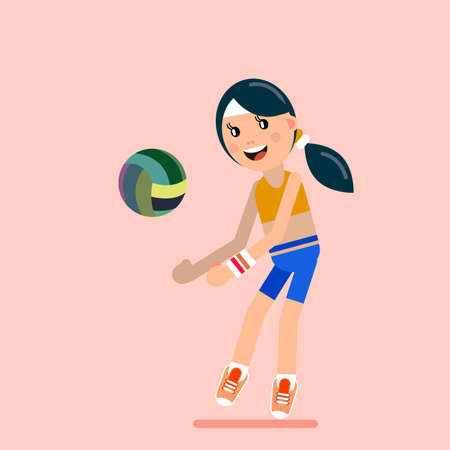 The girl plays volleyball. Girl and volleyball on separate layers for easy editing. Vector illustration in flat style.