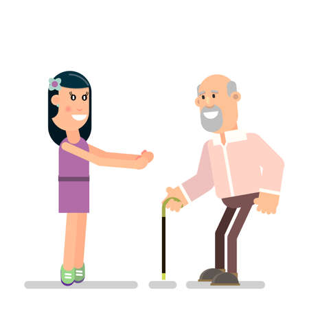 Young girl meets old father. A happy family. Vector illustration in flat style.