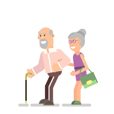Old senior man and woman with glasses standing or walking together hand in hand. Happy married couple on vacation. Flat style modern vector illustration on white background. Ilustração