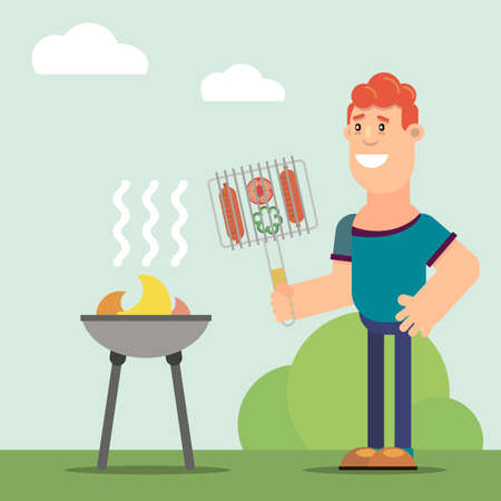 Young man cooking sausages on a barbecue during the summer. Vector illustration in flat style. Ilustração