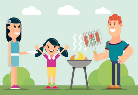 Family picnic. Bbq party. Food and barbeque, summer and grill. Vector illustration