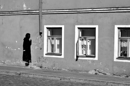 tallin: Abstract paint figure on old wall in Tallin