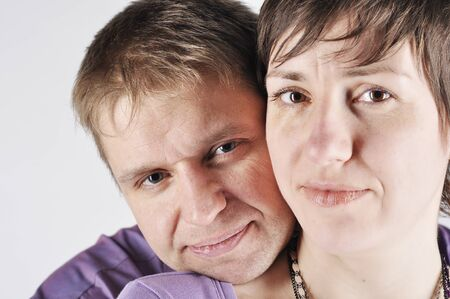 Portrait couple on white background Stock Photo - 16398748