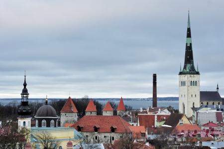 Top view on old city in Tallinn Estonia photo