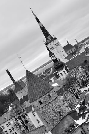 Black and white top view on old city in Tallinn Estonia photo