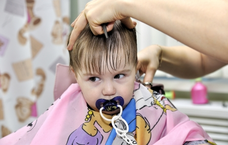 Hairstyle of the one-year-old child first time