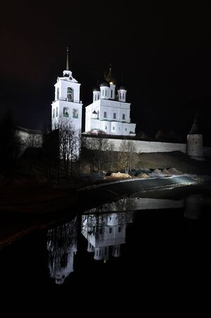 Night river view on Pskov Kremlin, Krom photo
