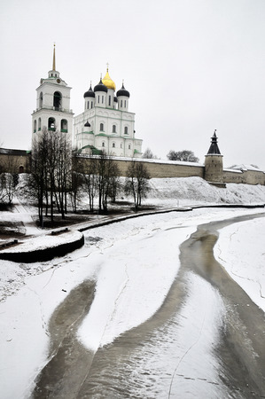 River view on Pskov Kremlin, Krom in winter time photo