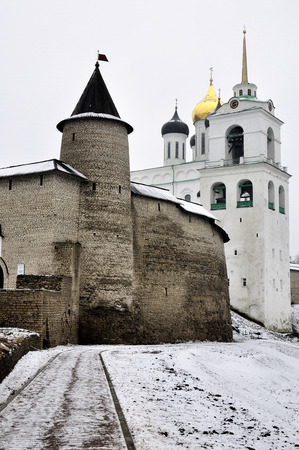 Winter view on ancient orthodox church in Pskov, Russia photo