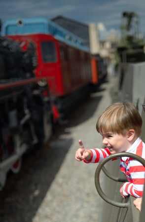 specifies: The child specifies from the train Stock Photo