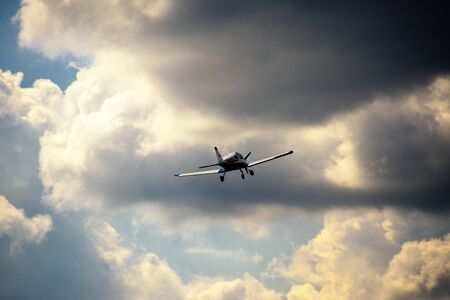 Ultralight weight airplane flying in the sky