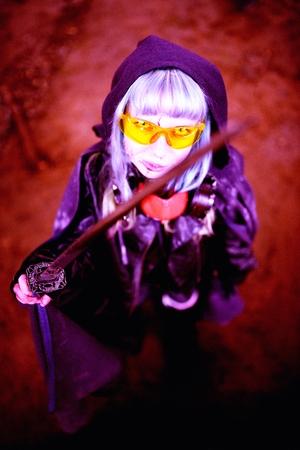 slayer: Woman apocalypse killer holding Japanese sword Stock Photo