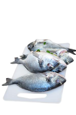 european roach: Three raw fish on a cutting board isolated