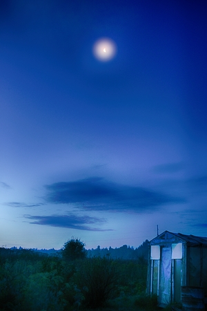 reside: Night view of a typical village in the north of the European part of Russia
