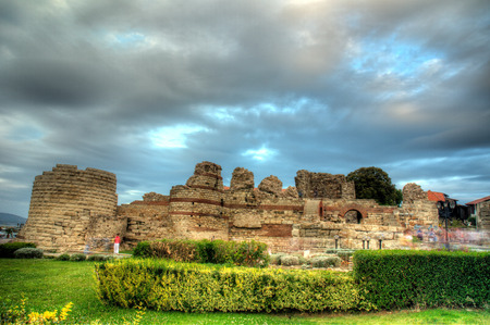 disruption: Ancient city wall in the city of Nesebar in Bulgaria