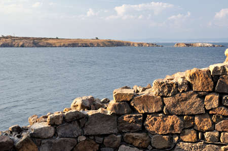 archeologist: View on sea witch ruins in ancient city of Sozopol in Bulgaria