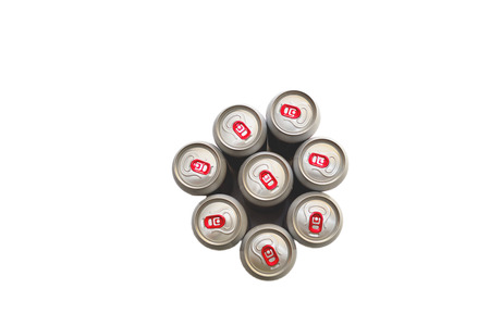 tin cans: Tin cans top view on white background