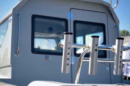furled: View of rear section of yacht