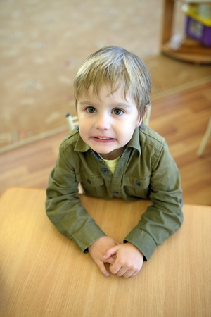 misbehaving: Kid making fun face Stock Photo