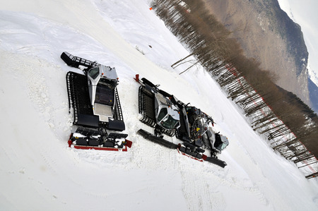 snow grooming machine: Ratraks, grooming machines, special snow vehicles in ski resort.