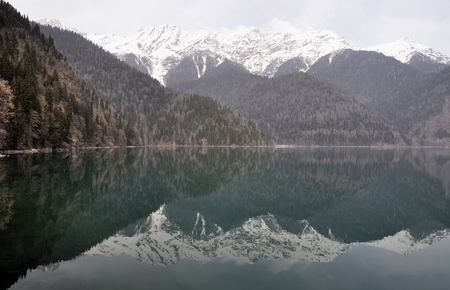 abkhazia: Mountain lake of Rica (Ritsa) in Abkhazia