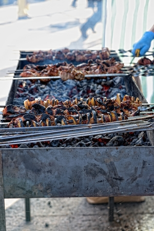 brazier: Preparation of kebab (shashlik) on brazier on street