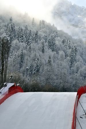 slope: The fenced ski slope