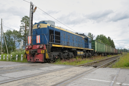 Russian freight train in motion