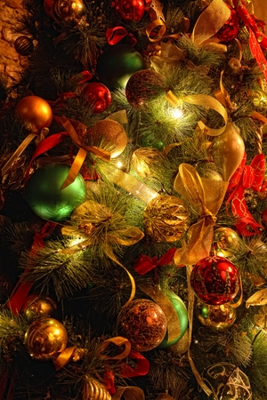 Background with Christmas tree decorations