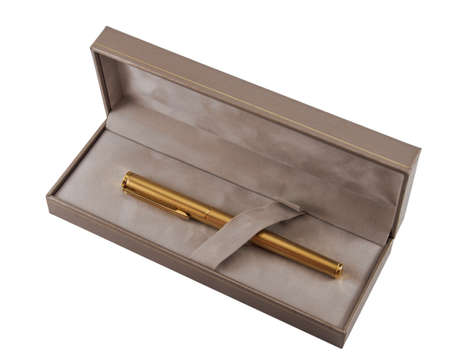 fancy box: The golden pen in box on white background.
