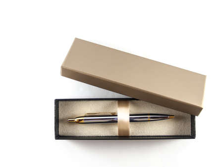 top veiw: Pen in box top view of  white background Stock Photo