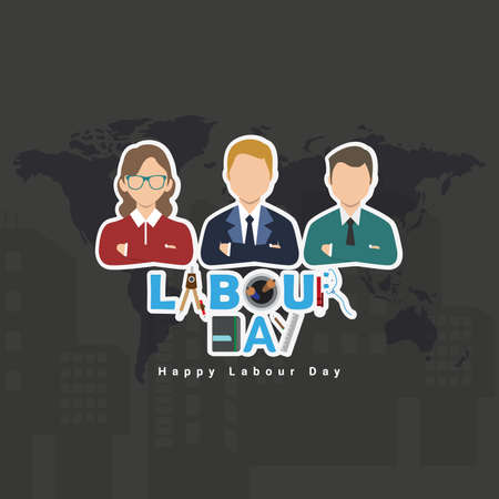 Vector illustration of happy Labour Day with stylish text and grey background. Vector illustration. Copy space. Illustration