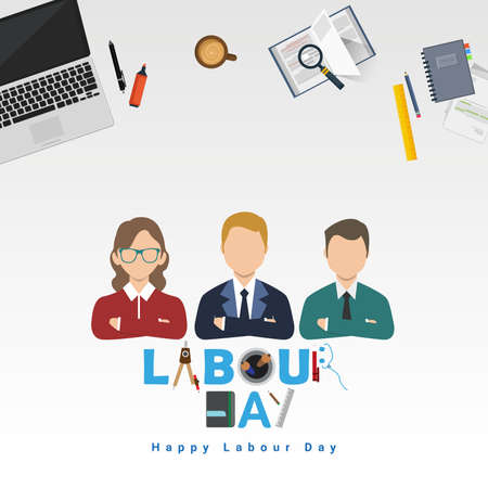 Vector illustration of happy Labour Day with stylish text and white background. Vector illustration. Copy space.