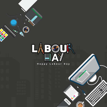 Vector illustration of happy Labour Day with stylish text and black background. Vector illustration. Copy space.