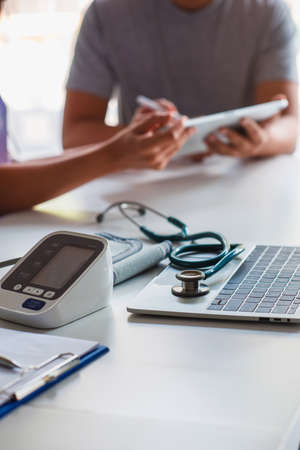 doctor women give advice to patients about blood pressure.,Cardiology in medicine and health care concept
