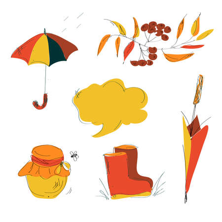Set of cute autumn cartoon characters, plants and food. Fall season. Collection of scrapbook elements for party, harvest festival or Thanksgiving day. Illusztráció