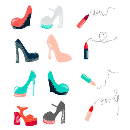 Big vector fashion sketch set. Hand drawn graphic lips, eye, heels, lipstick. Contrasty glamour fashion inky sketch Isolated elements on white background