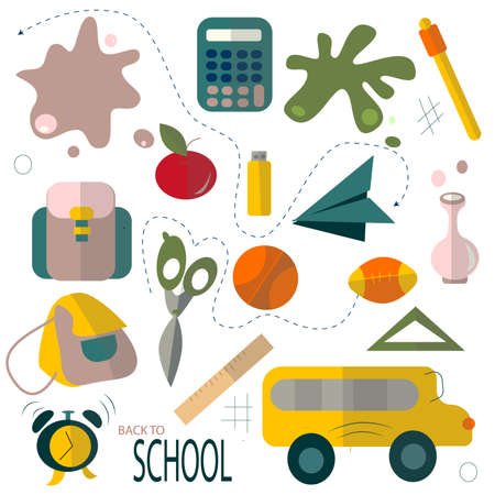 Back to school poster. Kids school backpack with education equipment vector illustration Çizim