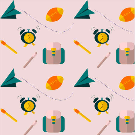 Vector seamless pattern with various school supplies on a pink background.