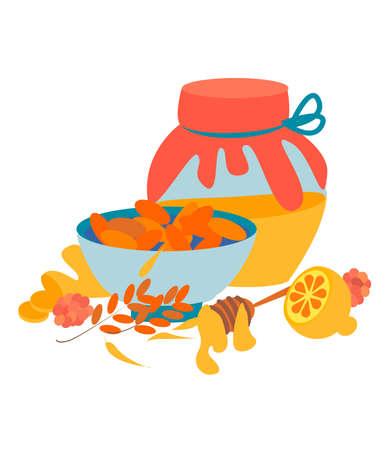 Set for health .Flat vector concepts for flu season.Vector set of natural remedies with ginger root sliced, lemon, honey and honey dipper, wood stick. Illustration of natural medicine