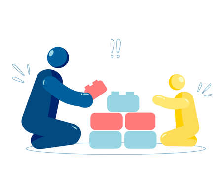 Dad and son play constructor with building blocks, Happy Family Having Good Time Together . Illustration. Parents and children spend time together playing with toys.Vector stock