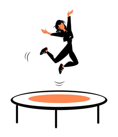 Happy girl Jumping on Trampoline, Young women Having Fun Jump and Bouncing, Spare Time, Activity, Amusement Park. Cartoon Flat Vector Illustration
