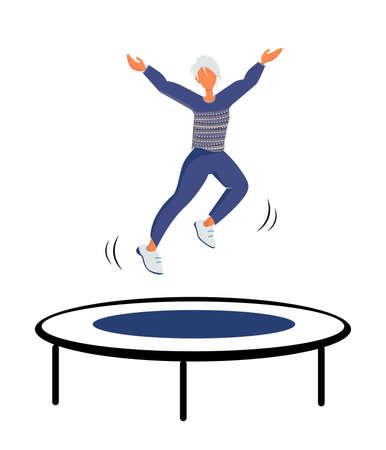 Happy women Jumping on Trampoline,Having Fun Jump , Spare Time, Activity, Amusement Park. Woman athlete doing gymnastics on trampoline illustration. Flat Vector Illustration Illustration