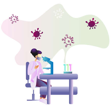 Scientist woman in laboratory working antivirus vaccine search with microscope coronavirus bacteria vector illustration banner.Professional scientists dealing with microbiology and nanotechnology.
