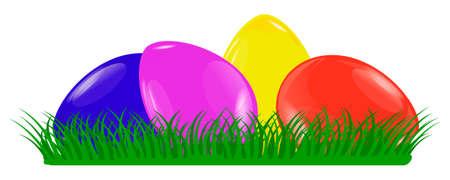 Easter banner vector illustration, Colorful Easter eggs on green grass isolated on white background. Vector stock . Ilustração