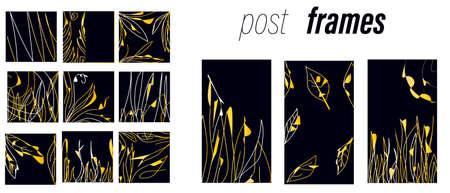 Gold, black, white marble template, artistic covers design, colorful texture. Social Network Stories Background Template Set.Vector Mock up, Story Collection with Gold Leaves.