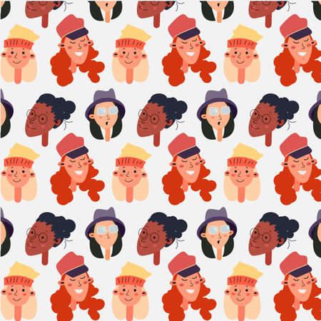 Female different faces of different ethnic pattern. Womens faces pattern different nationalities in cartoon style . Illustration